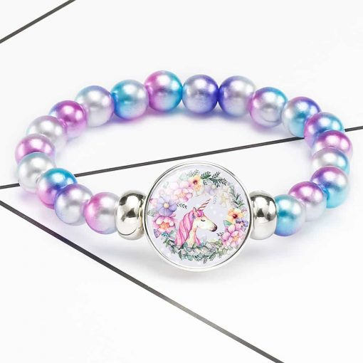Unicorn Bracelet Purple And Pink Beads
