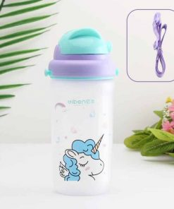 Unicorn Water Bottle White Plastic