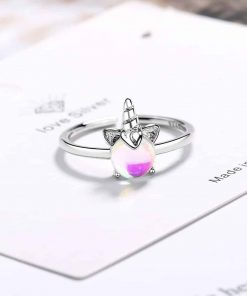 Unicorn Ring Pink Opal Sterling Silver