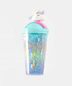 Unicorn Water Bottle Blue Glitter