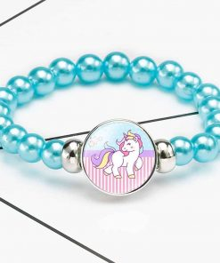 Unicorn Bracelet Blue Beads