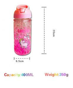 Unicorn Water Bottle Purple Glitter