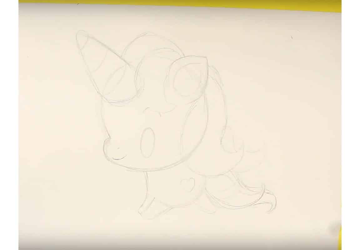 Kawaii Unicorn Drawing Step 09