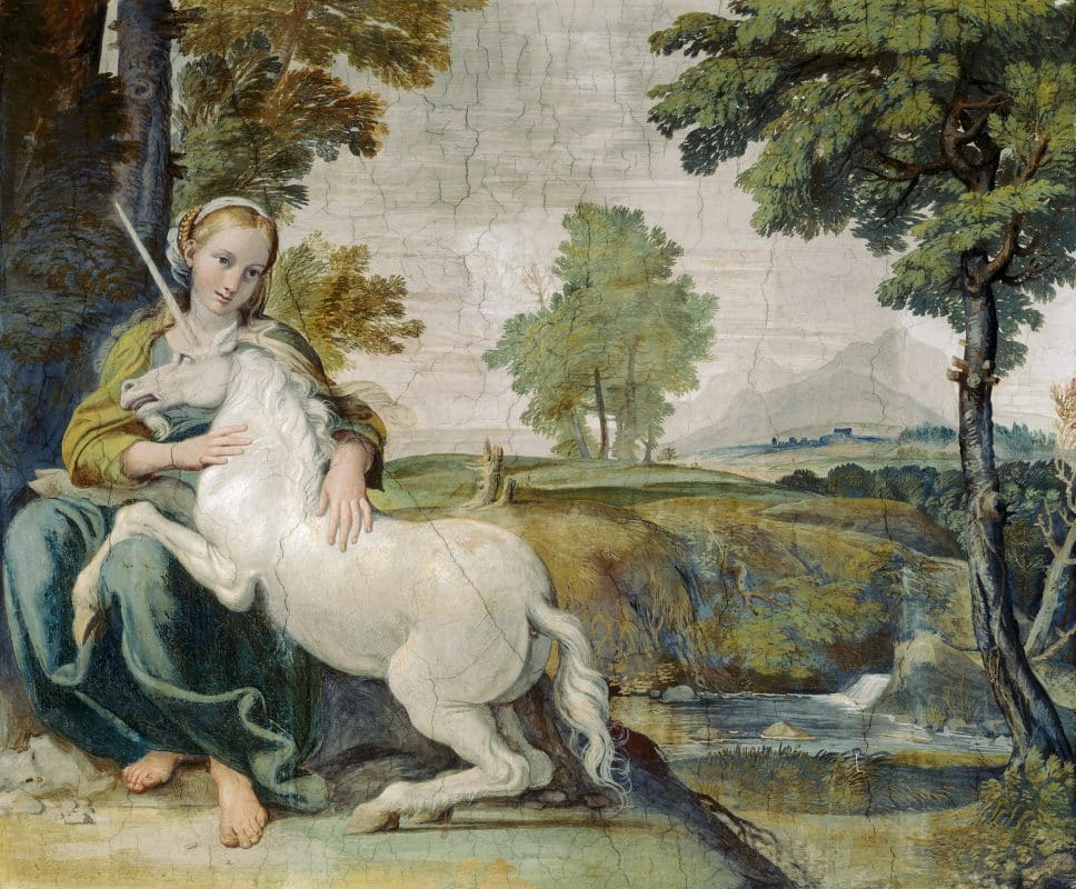 Unicorn Myth In A Painting