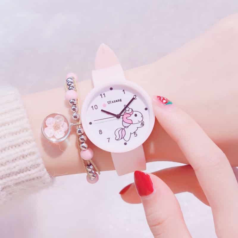 Pink Unicorn Watch With A Leather Strap