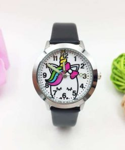 Unicorn Black Leather Watch Child