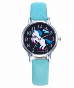 Unicorn Cyan Leather Watch
