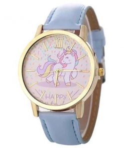 Unicorn Blue Leather Watch Happy