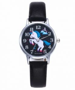 Unicorn Black Leather Watch Happy