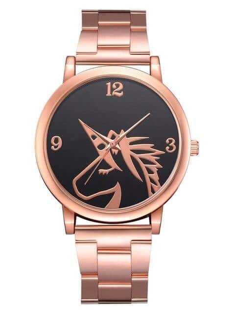 Unicorn Pink Gold Stainless Steel Watch For Woman