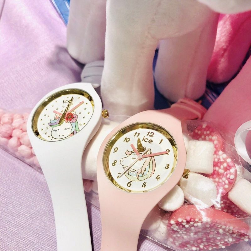 White And Pink Unicorn Watch With Plastic Strap