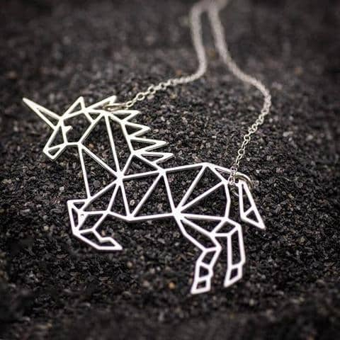 Necklace Unicorn Origami Money Not Dear