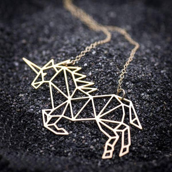 Necklace Unicorn Origami Money